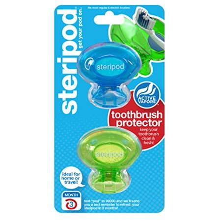 2 Pack - Steripod Clip On Toothbrush Sanitizer 2 Count Each (Colors