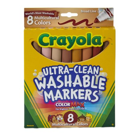 Crayola Washable Marker Set, 8-Colors, Broad, Skin Tones