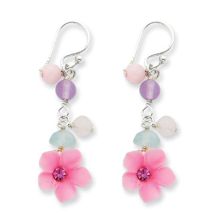 Agate Blue Topaz Rose Cherry Quartz Flower Earrings