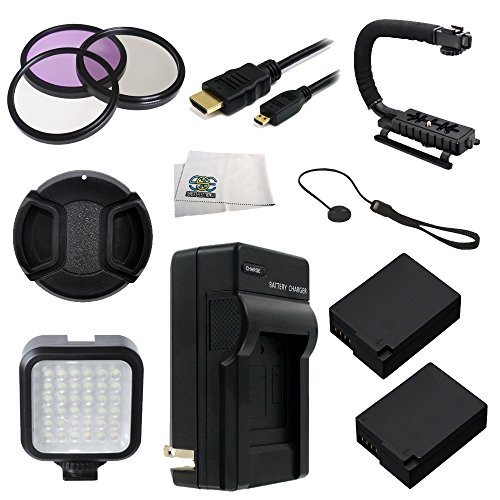 62MM 12PC Accessory Kit for Panasonic Lumix DMC-FZ1000 4K QFHD/HD Digital Camera Includes 3 Piece Filter Kit (UV-CPL-FLD) + 2 Extended Life Replacement Batteries (DMW-BLC12) + AC/DC Rapid Home & T