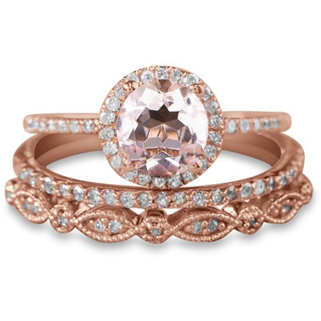 2 carat Antique Milgrain Round Morganite and Diamond Trio Ring Set in 10k Rose Gold with One Halo Engagement Ring and 2 Wedding
