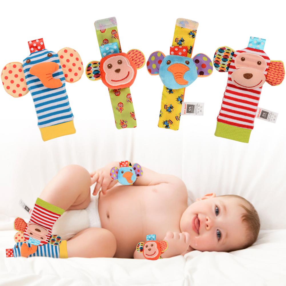 0-6 months baby animal wrist rattle educational toys monkey elephant 4 sets