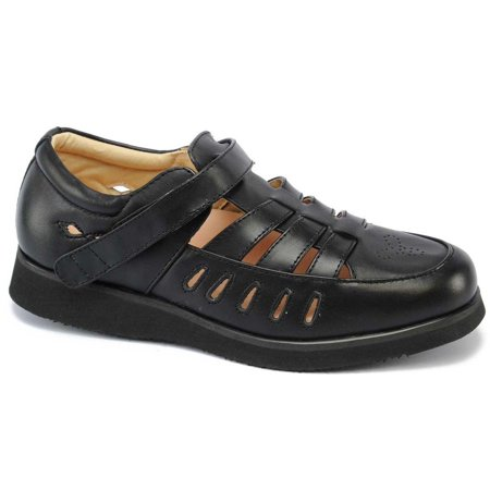 Mt. Emey Therapeutic Comfort Diabetic Extra Wide Womens Black Leather Shoes -