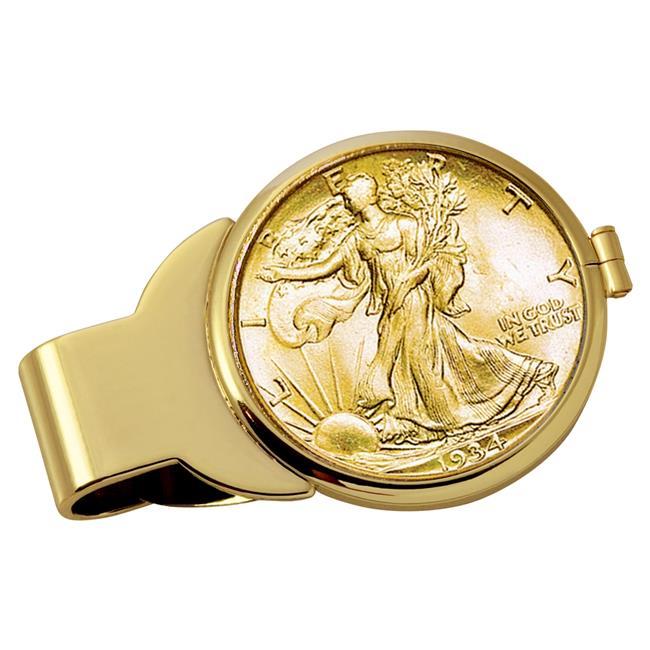 NEW Gold-Layered Silver Walking Liberty Half Dollar Coin Money Clip 13028
