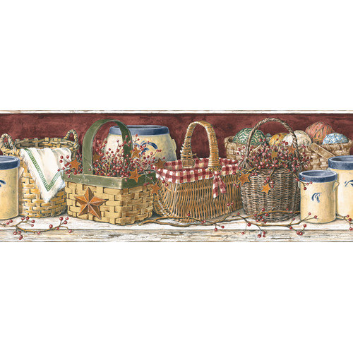 York Wallcoverings Mural Portfolio II Country Kitchen 15' x 9'' Food and Beverage Border Wallpaper