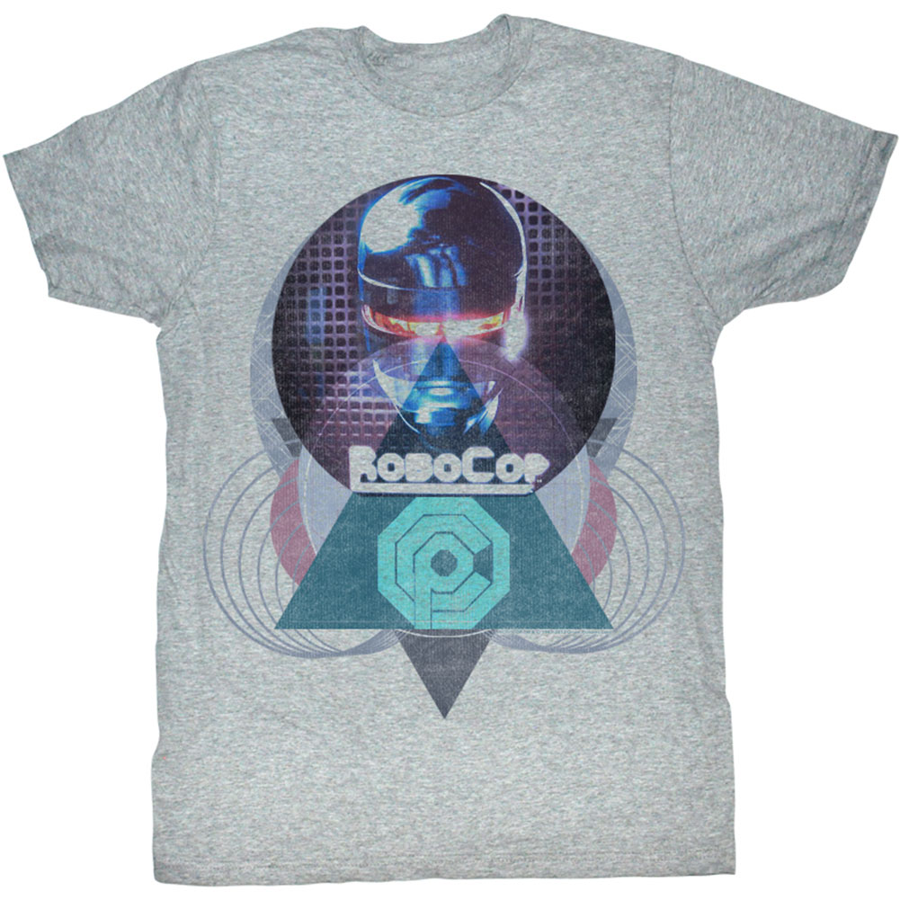 Robocop Men's  Robogeo Slim Fit T-shirt Gray Heather