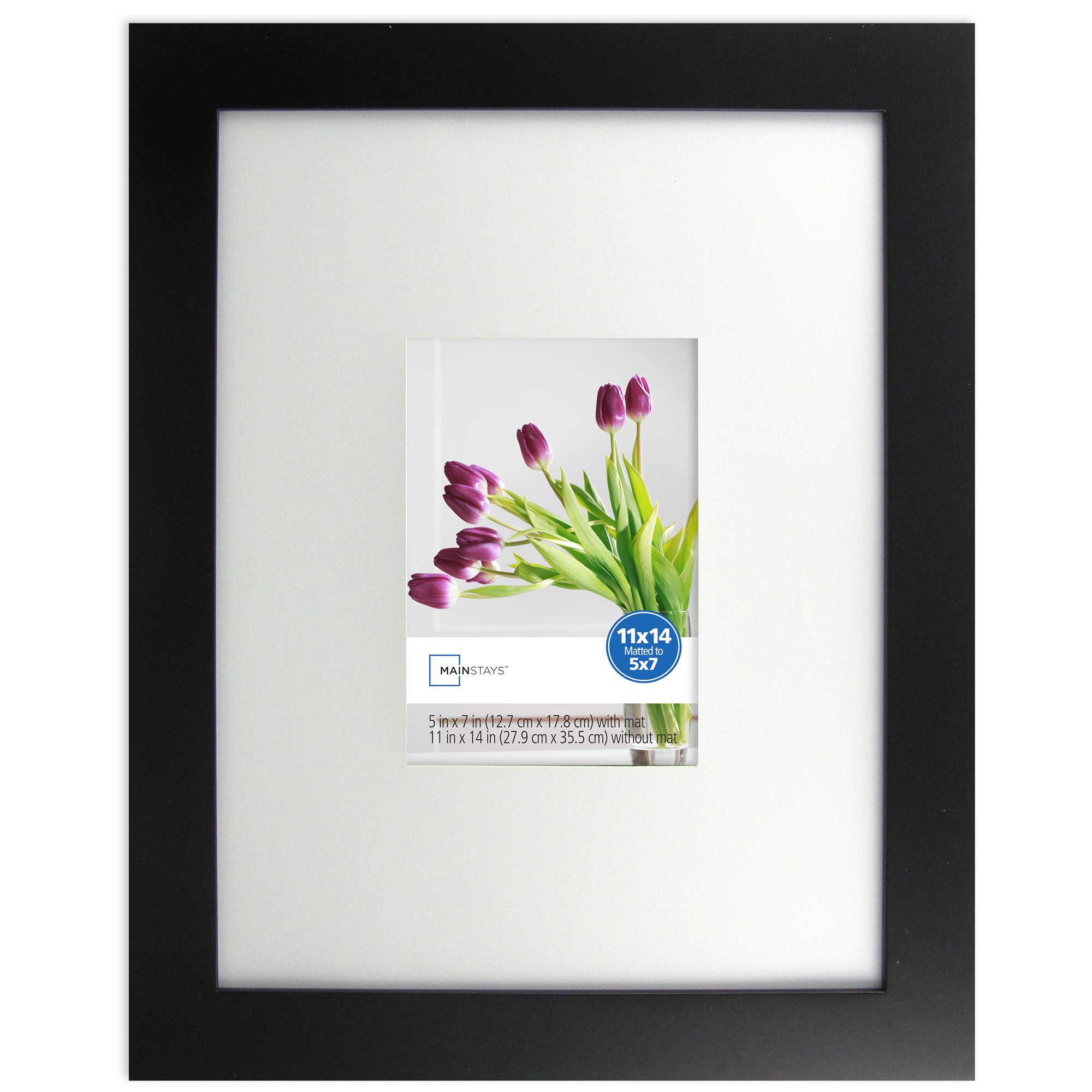 Mainstays 5x7 to 11x14 Wide Picture Frame, Black by Uniek