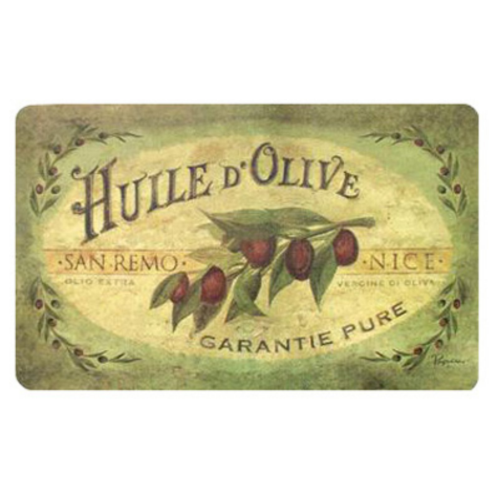 Apache Cushion Comfort 60-122-0149-01800030 Vintage Olive Oil Kitchen Mat - 18 x 30 in.