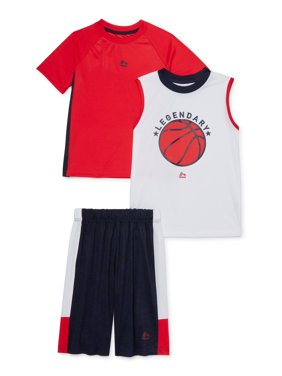 RBX Boys Jersey T-Shirt, Graphic Muscle Tank Top, and Shorts 3-Piece Athletic Set, Sizes 4-12