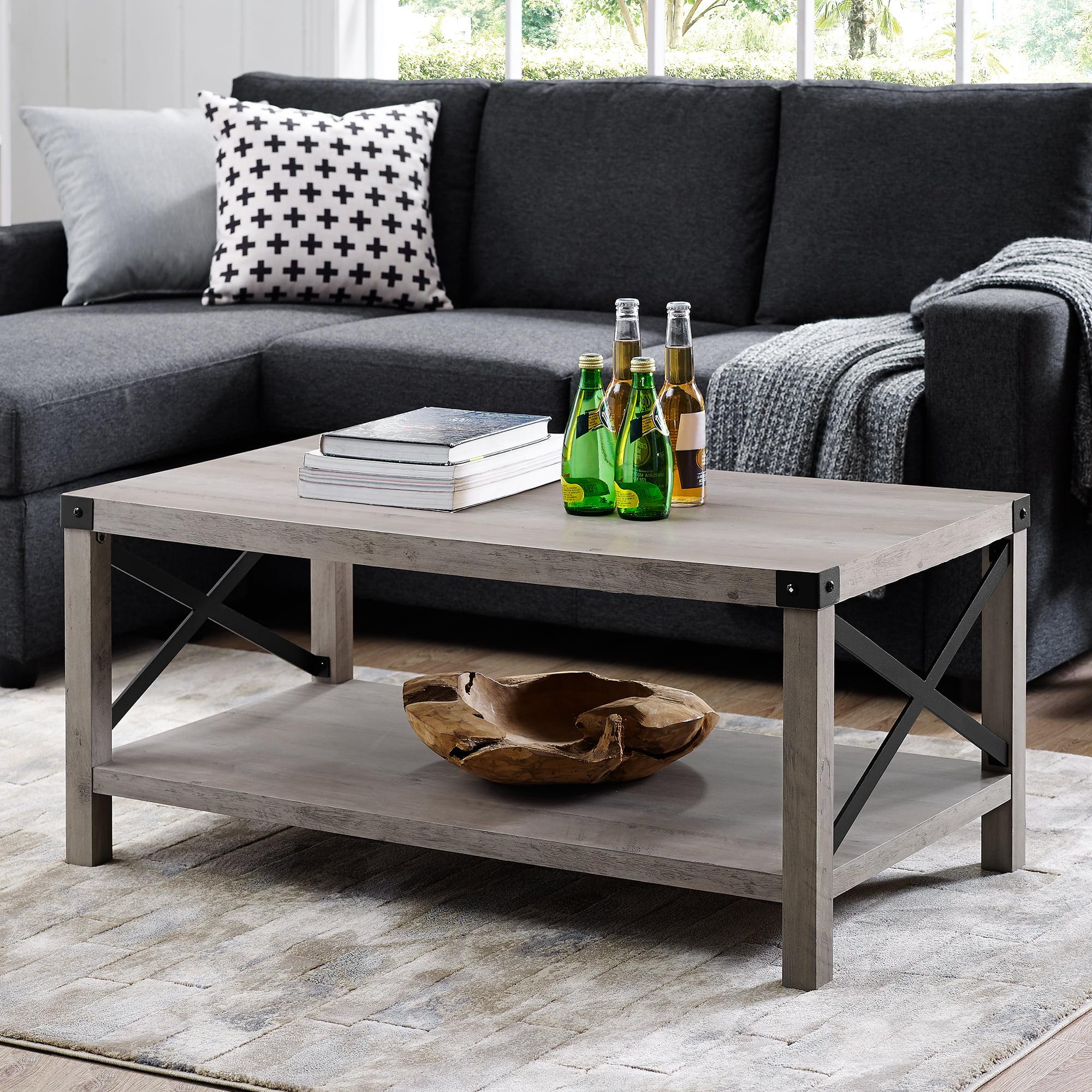 """Manor Park 40"""" Rustic Wood Coffee Table - Rustic Oak"""