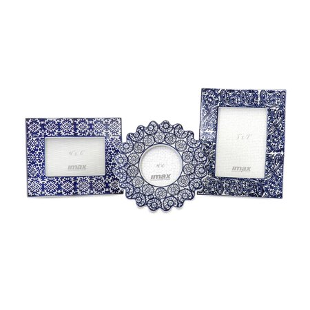 Lucenda Blue and White Ceramic Frames - Set of -