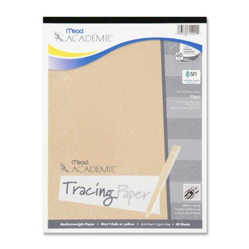 "Mead Academie Tracing Paper Pad - 40 Sheet - 9"" X 12"" - 1 Each - White Paper (MEA54200)"