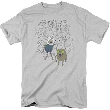 Adventure Time Men's  Sugar Zombies T-shirt Silver
