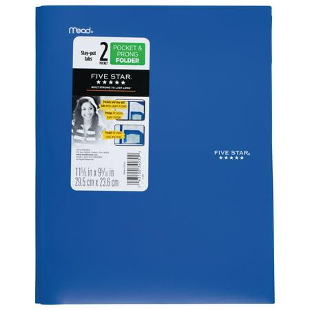Five Star Stay-Put Pocket & Prong Folder, Cobalt Blue (34569) (Poly 3 Prong 2 Pocket Folders)