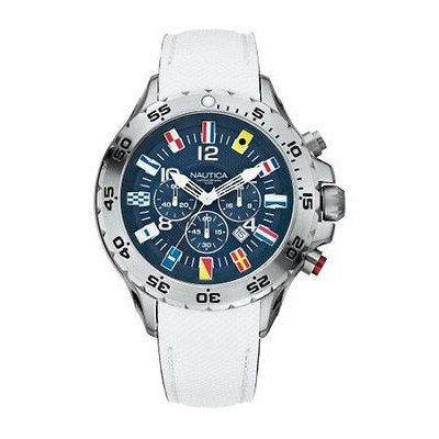 Nautica Men's Maritime Signal Flags Mens Chronograph White Leather Watch A24514G by Nautica