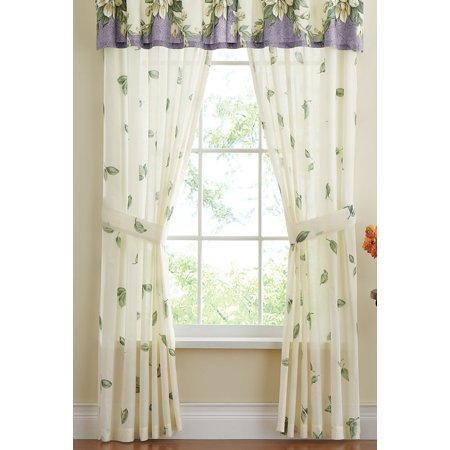 Magnolia Garden Floral Leaf Rod Pocket Window Curtain Collection, Panel Pair, Lilac