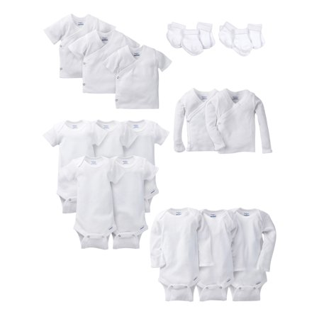 Gerber Layette White Essentials Baby Shower Gift Set, 19pc (Baby Boys or Baby Girls, Unisex)
