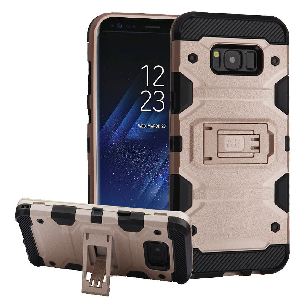 Insten Storm Tank Dual Layer Hybrid Stand Hard Plastic/TPU Case Cover For Samsung Galaxy S8 Plus S8+ - Rose Gold/Black (Bundle with USB Type C Cable)