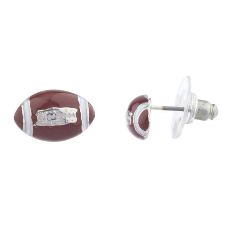 Lux Accessories Silver Tone Brown White Enamel Football Sports Post Earrings Sports Tennis Earrings