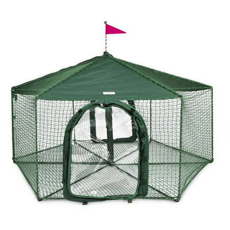 "Kittywalk Gazebo Outdoor Cat Enclosure, Green, 70"" x 70"" 38"""