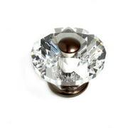 JVJHardware 36812 Pure Elegance 60mm - 2. 38 inch - Diamond Cut 31 Percent Leaded Crystal Knob - Old World Bronze