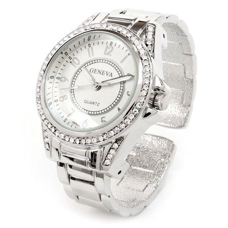 - Geneva Women's Silver Bangle Cuff Watch