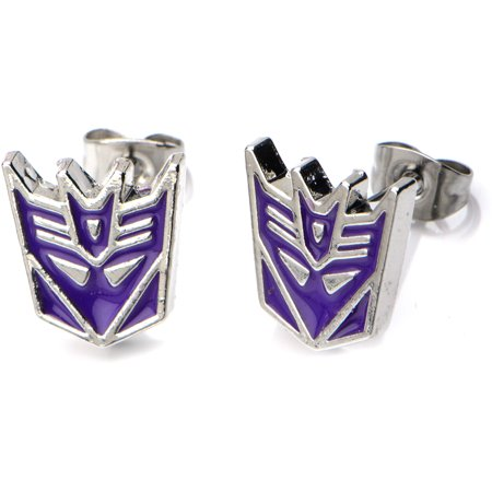 Officially Licensed Hasbro Transformers Body Jewelry Stud Earrings with Surgical Steel Post with Decepticon Design