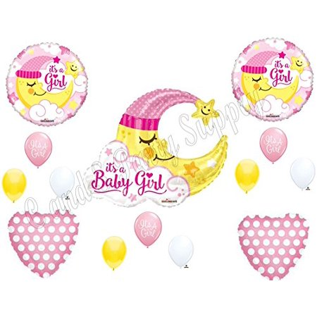 Baby Shower Moon And Stars Theme (BABY GIRL MOON shower Balloons Decoration Supplies Nursery Rhyme Diddle)