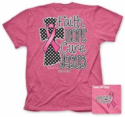 Tee Shirt-Cherished Girl: Faith Hope Cure-Large-Pink