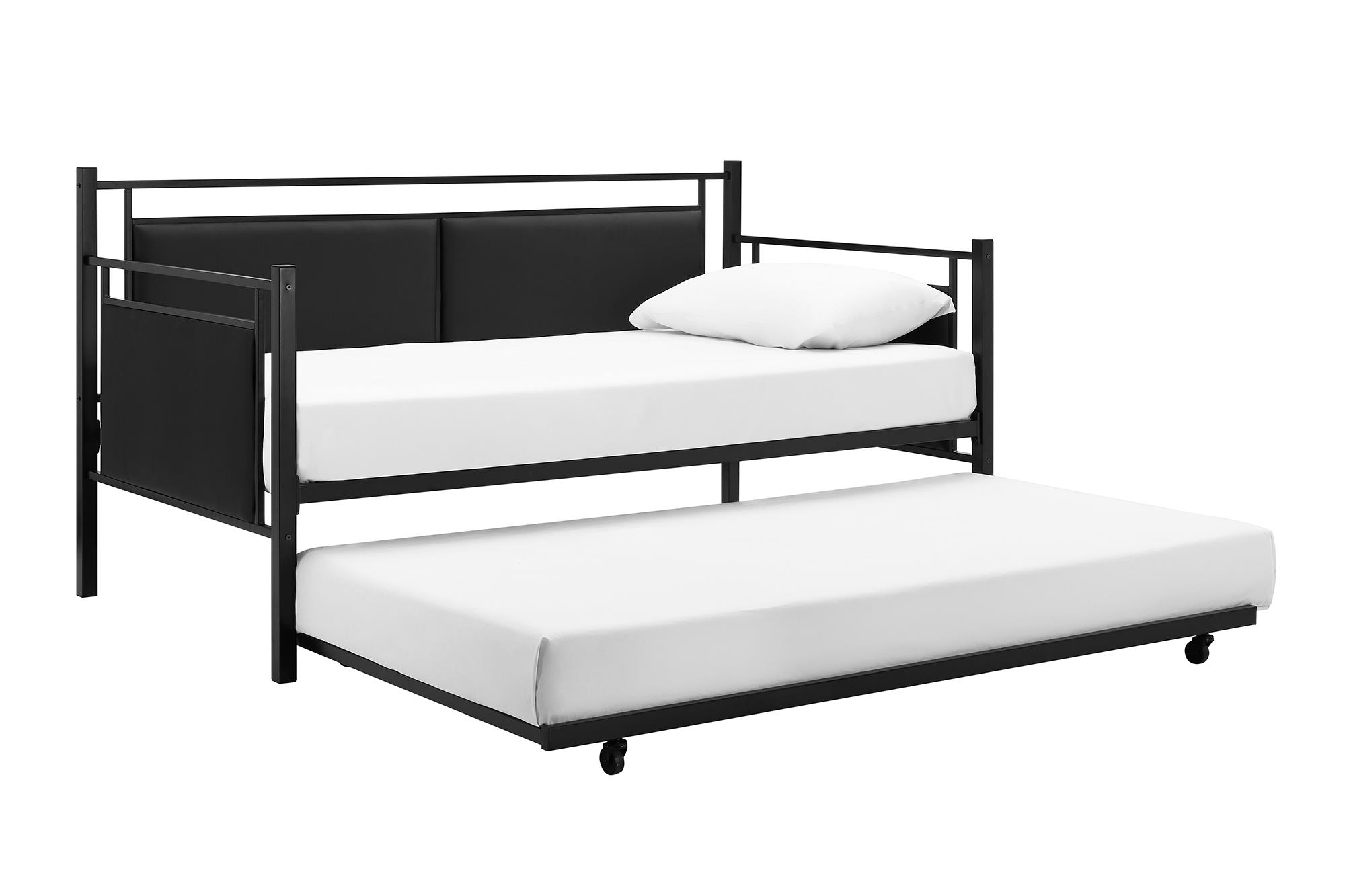 DHP Astoria Metal and Upholstered Day Bed and Trundle, Black by Dorel Home Products