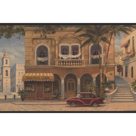 Vintage Havana Cigar Shops City Square Dark Green Trim Wallpaper Border Retro Design, Roll 15