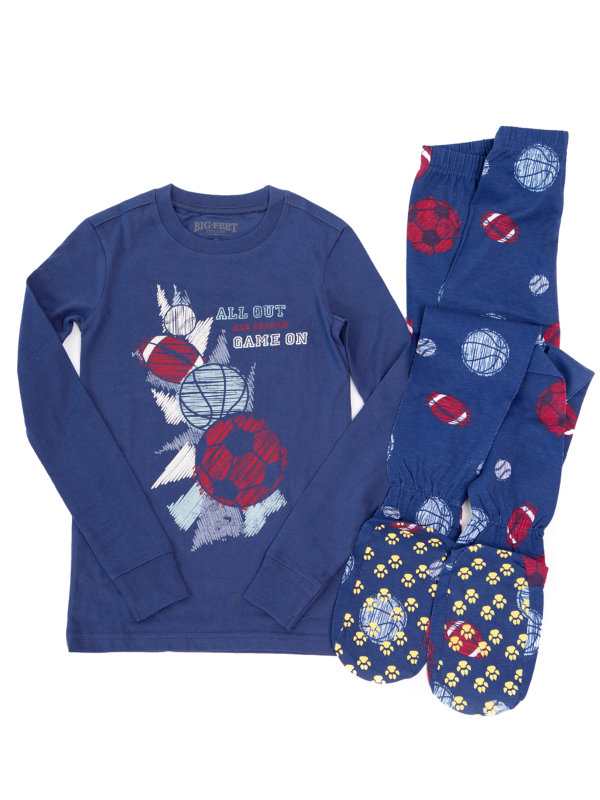 "Big Feet PJs 2 Piece Footed Pajamas with Sports Balls on Navy ""All Out - Game On"""