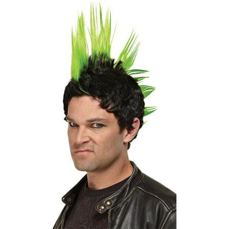 Morris Costumes Mens Punk Rocker Adult Halloween Green Wig, Style, MR178001