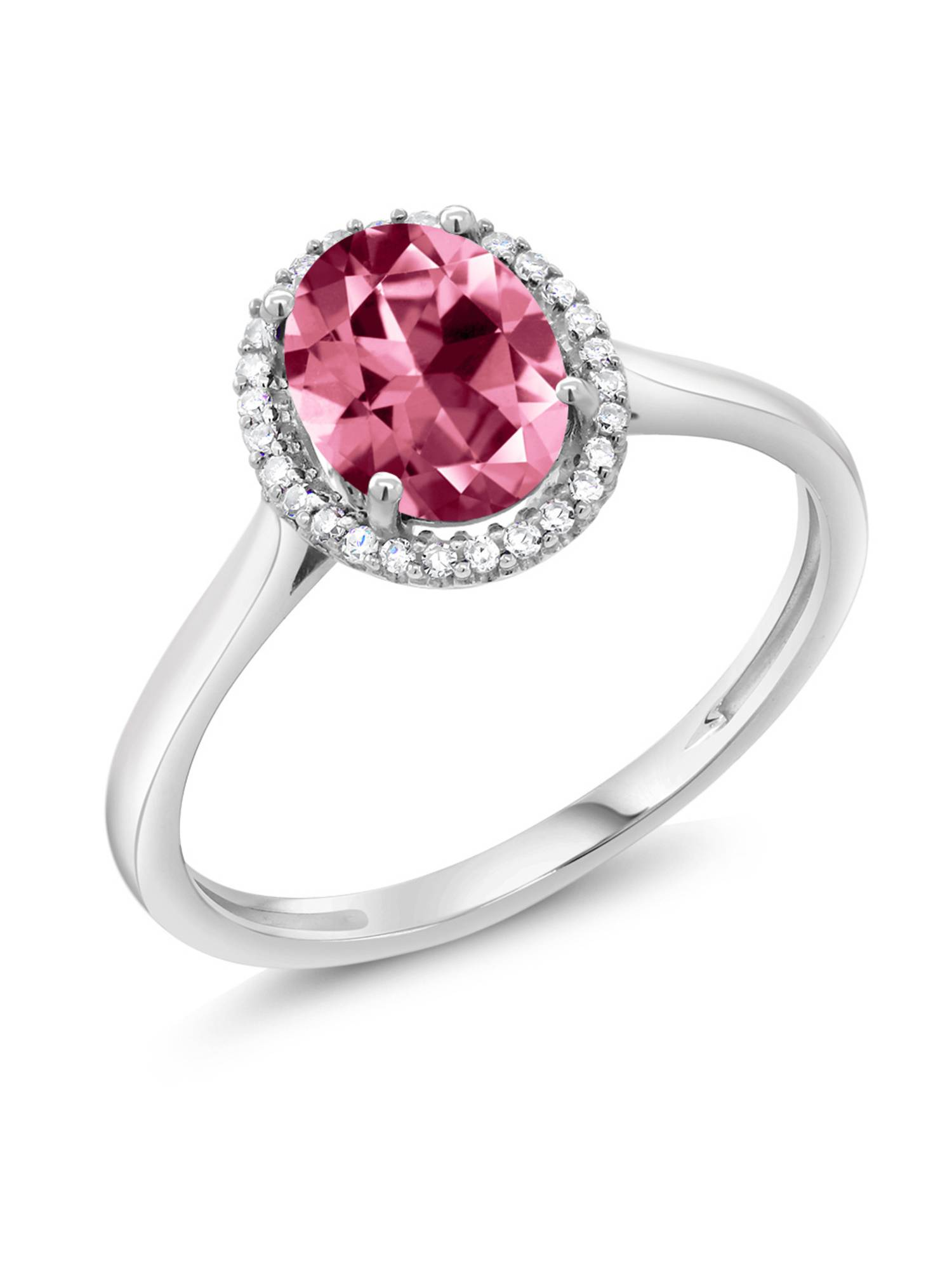 10K White Gold Diamond Ring Set with Oval Pink Topaz from Swarovski by