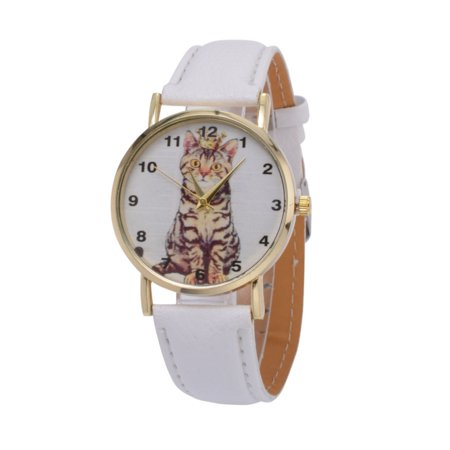 Cat Watch I Love My Cat Wristwatch Animal Pet White Band Watch, (I Love Lucy Watches)