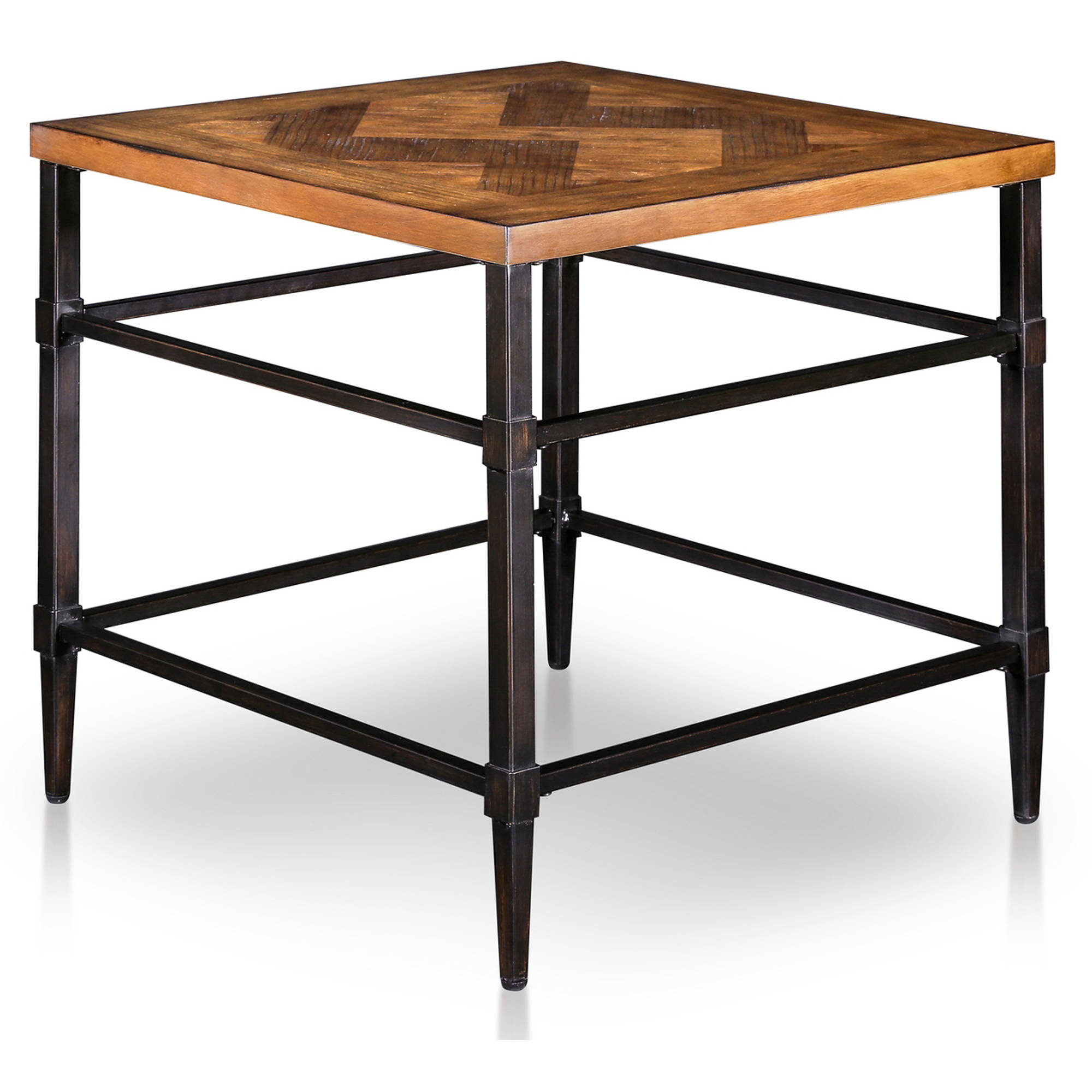 Furniture Of America Rhett Industrial Metal Frame End Table In Light Oak