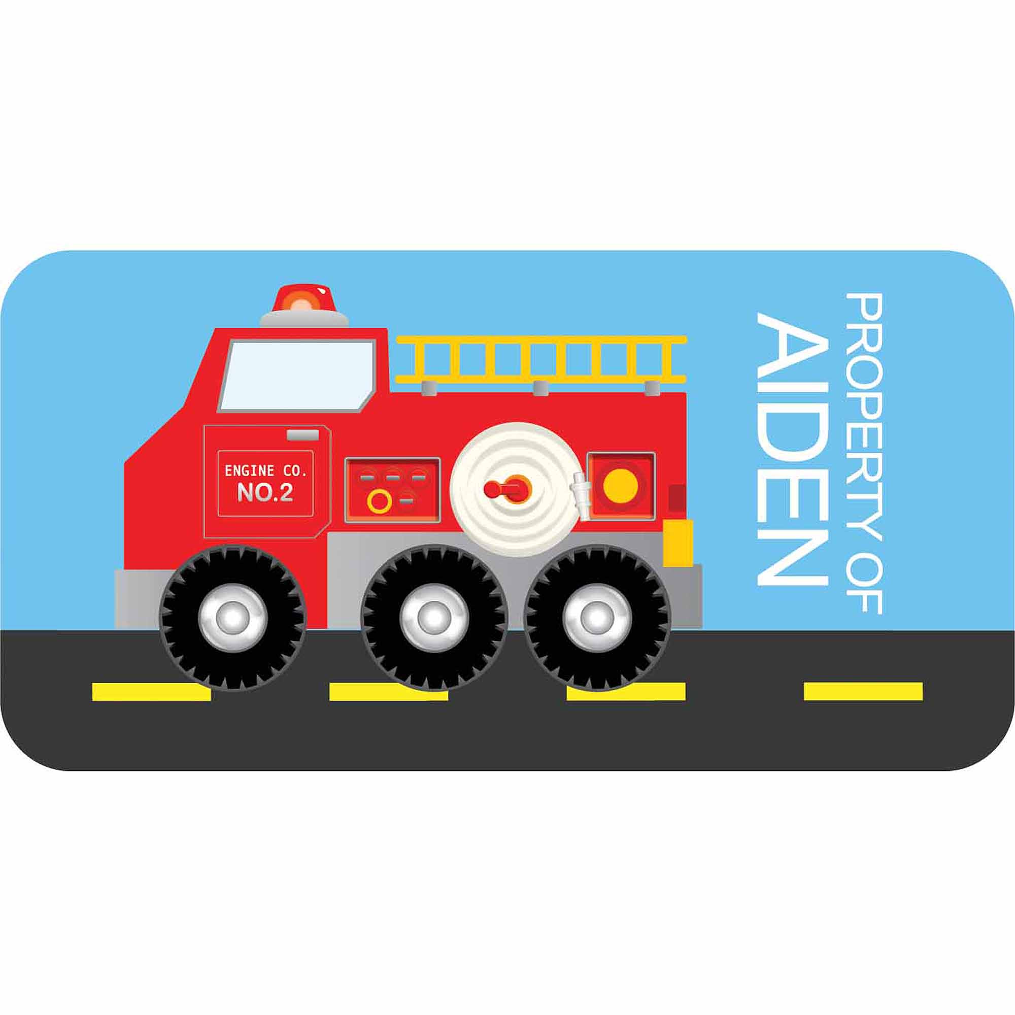 Personalized Kids Property Labels, Fire Truck