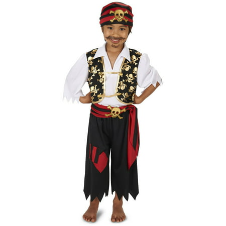 Skull Print Pirate Child Halloween Costume - Pirate Makeup For Men