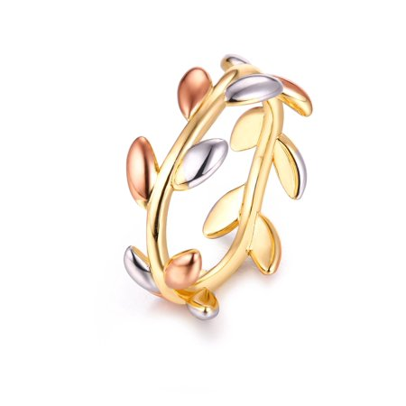 18K Gold Plated Tri-Gold Laurel Leaf Ring - Size 7