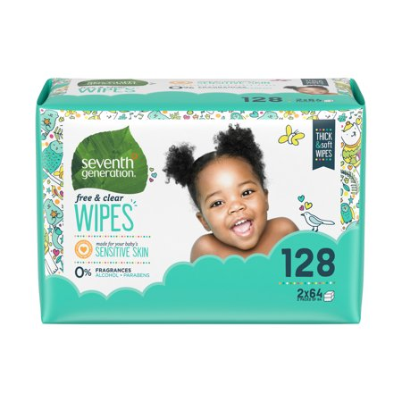 Seventh Generation Thick & Strong Baby Wipes, Free & Clear Refill, 128 sheets (Pack of 6)