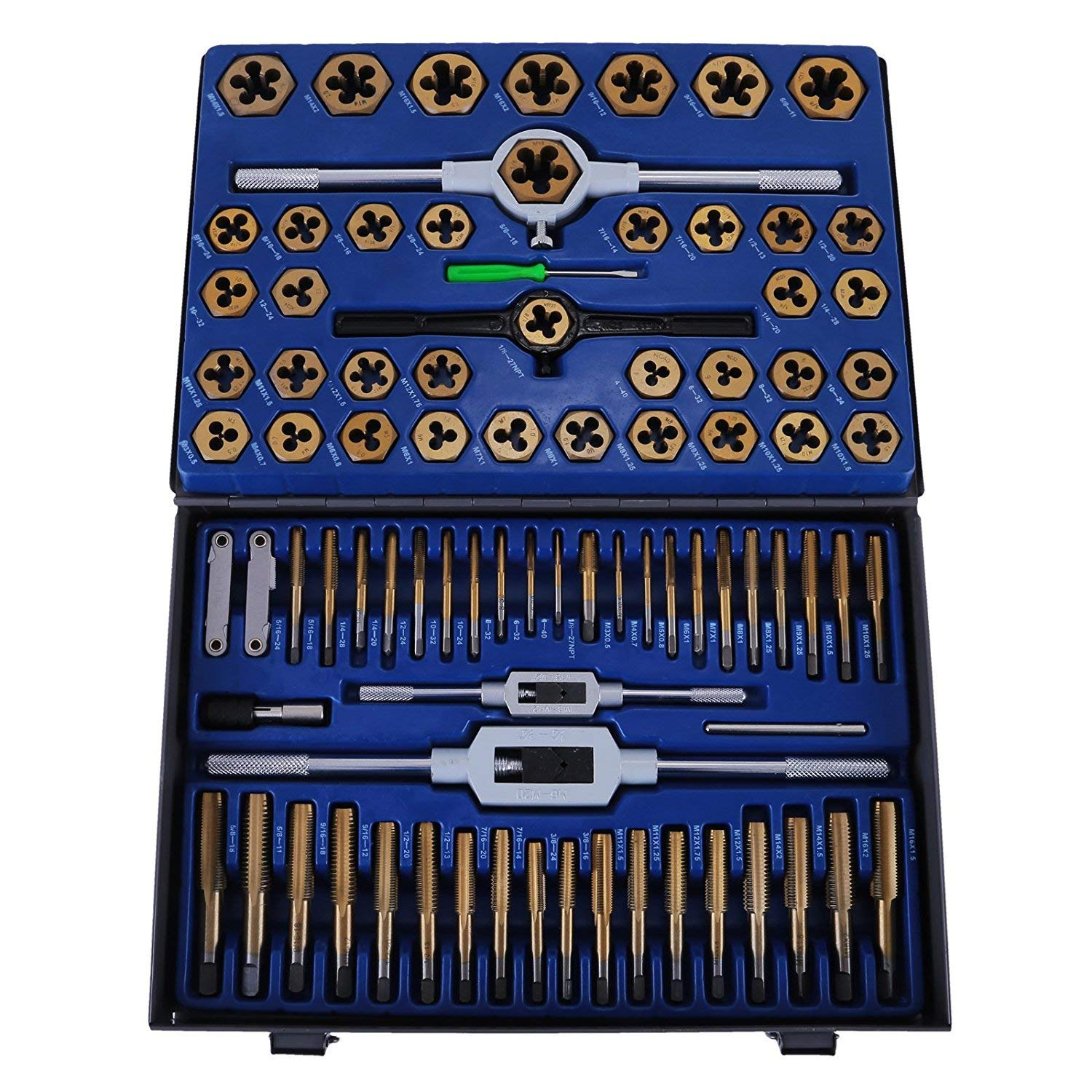 BestEquip 86PC Tap and Die Set Combination Metric Tap and Die Sae Tap and Die Set Tungsten Steel Titanium SAE and Metric Tool