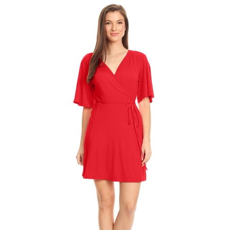 5ec0a8793d3 Simlu - Women s Wrap Dress Flared Sleeve Reg and Plus Size Wrap Dress with Tie  Belt - USA - Walmart.com