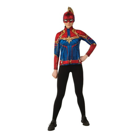 Halloween Captain Marvel Hero Suit Adult Costume Top (Blue Morph Suits)
