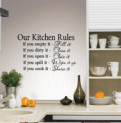 "OUR KITCHEN RULES ~ WALL DECAL 13"" X 20.5"""