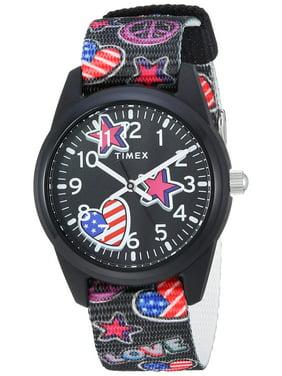 3d1b051bd Product Image Girls Time Machines Black/Stars & US Flag Watch, Elastic  Fabric Strap