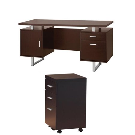 2 Piece Set Cabinet - Papineau 2 Piece Computer Desk and Mobile File Cabinet Set in Cappuccino
