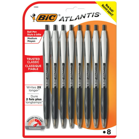 BIC Atlantis Original Retractable Ballpoint Pen, Medium Point (1.0mm), Black, 8 Count