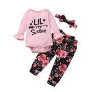 Xingqing Infant Baby Girl Flare Letter Print Romper Bodysuit +Floral Pants+Headband Outfits Clothes 0-6 Months