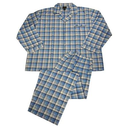 Botony 500 - Mens Big Long Sleeve Striped Broadcloth Pajama Light Blue Navy Plaid / -