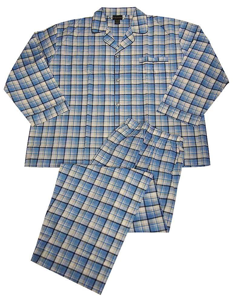Botony 500 - Mens Big Long Sleeve Striped Broadcloth Pajama Light Blue Navy Plaid / XXXXXX